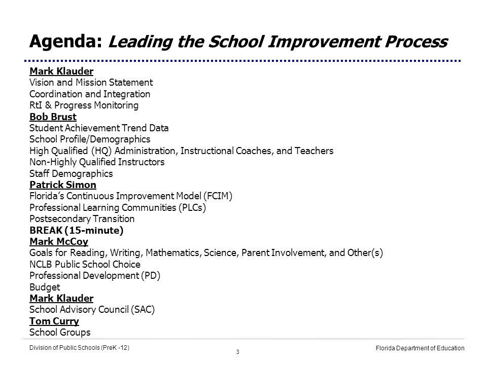 Agenda: Leading the School Improvement Process