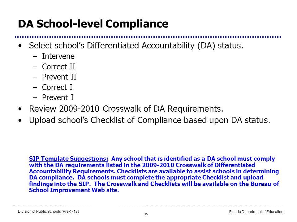 DA School-level Compliance