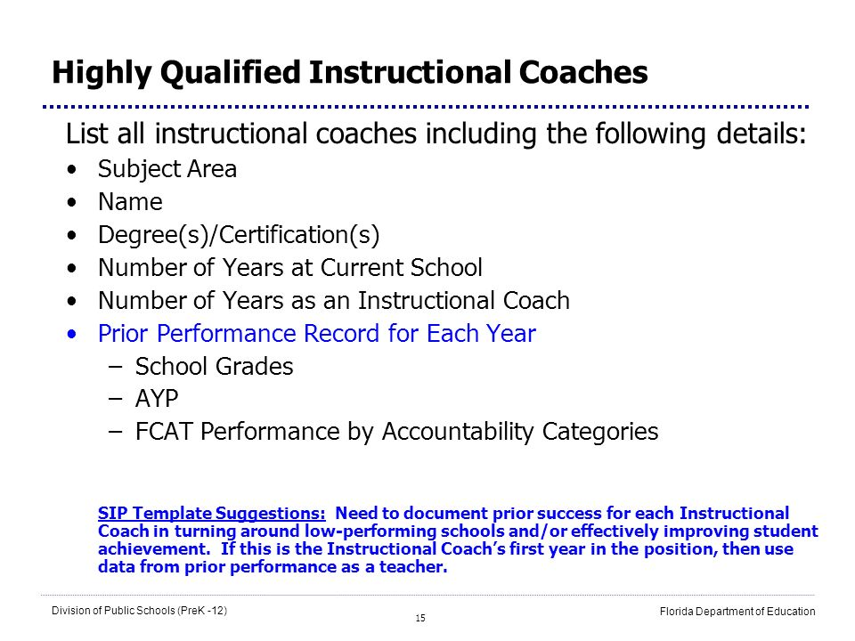 Highly Qualified Instructional Coaches