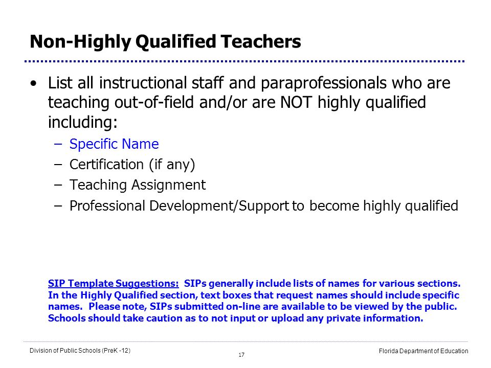 Non-Highly Qualified Teachers