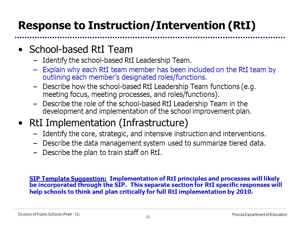 Response to Instruction/Intervention (RtI)