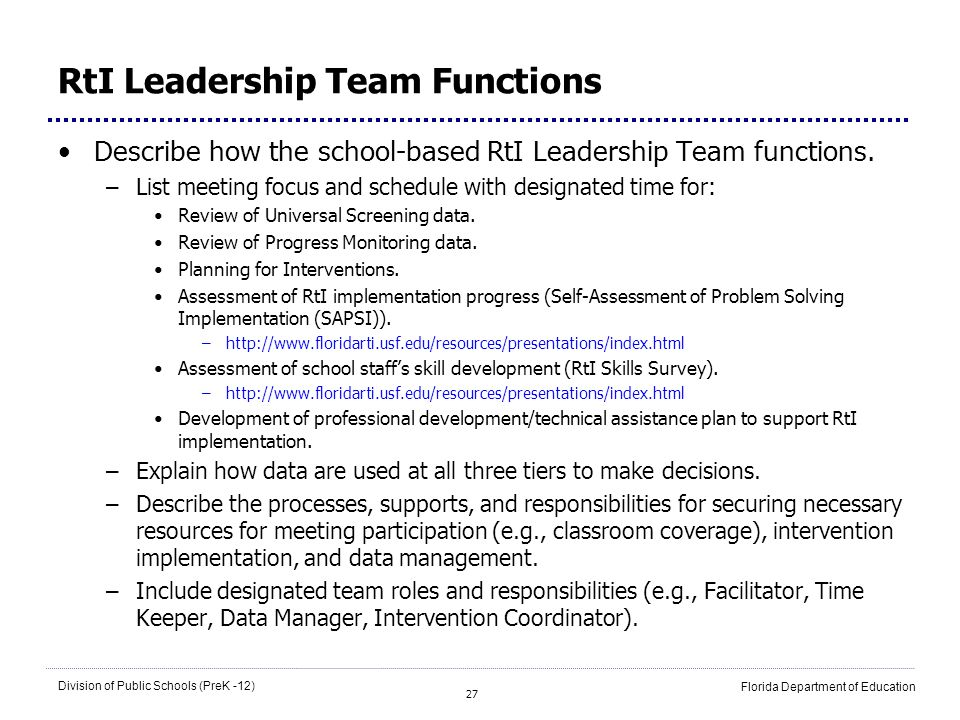 RtI Leadership Team Functions
