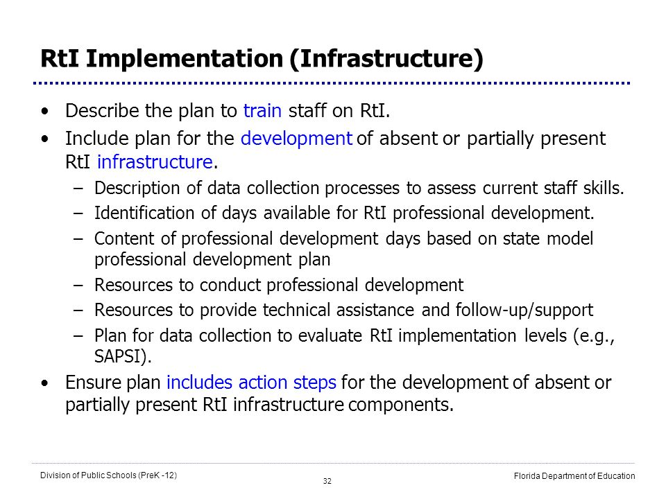 RtI Implementation (Infrastructure)