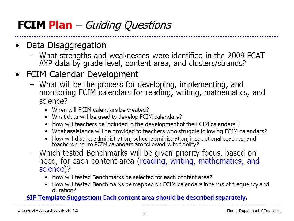 FCIM Plan – Guiding Questions