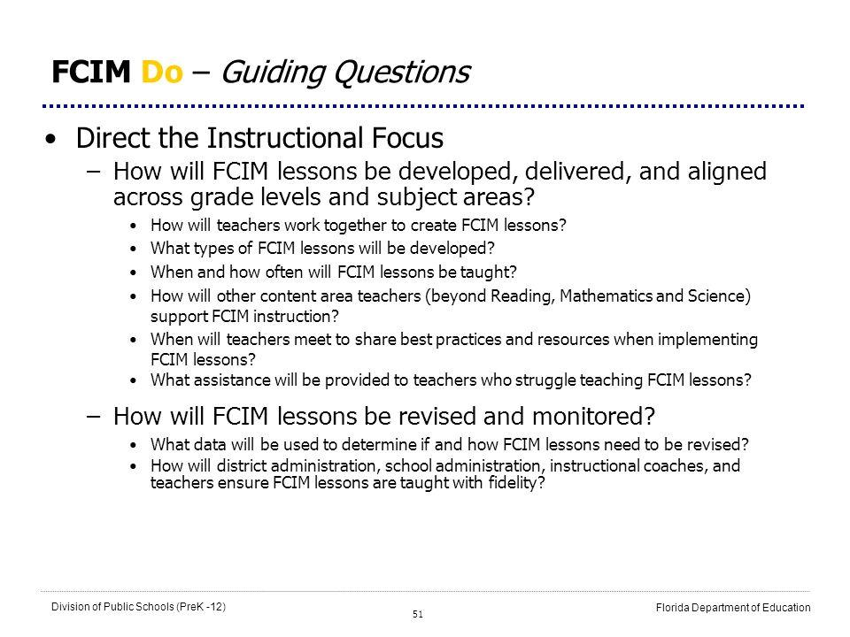FCIM Do – Guiding Questions