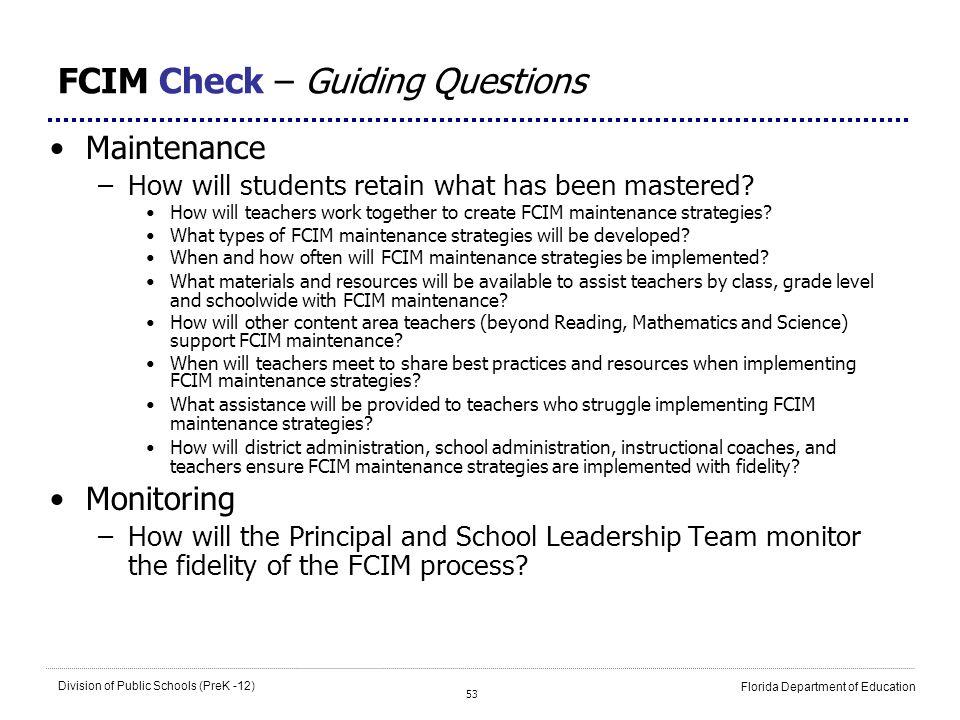 FCIM Check – Guiding Questions