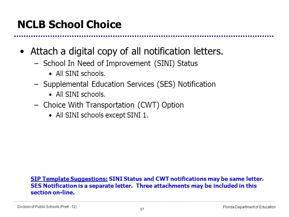 NCLB School Choice Attach a digital copy of all notification letters.