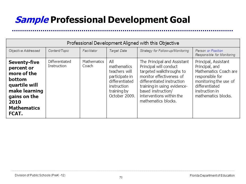 Sample Professional Development Goal