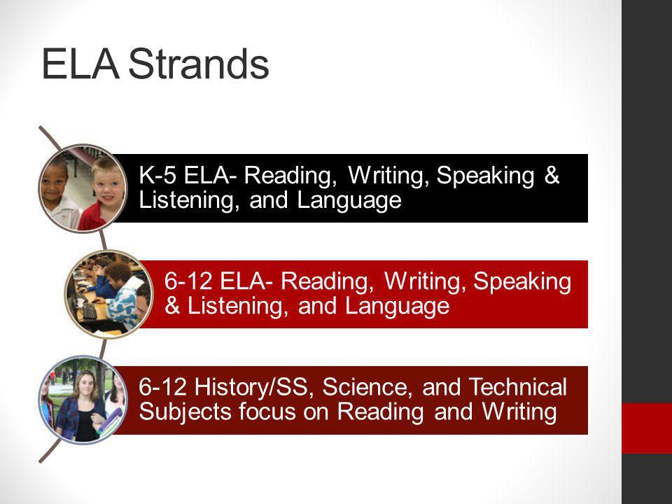 ELA Strands K-5 ELA- Reading, Writing, Speaking & Listening, and Language. 6-12 ELA- Reading, Writing, Speaking & Listening, and Language.