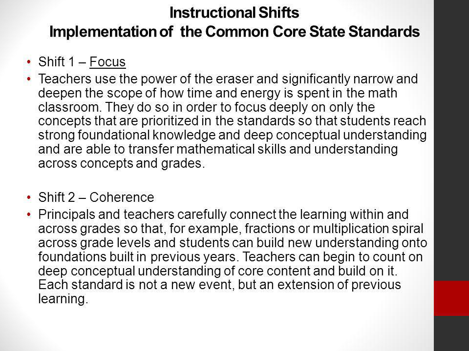 Instructional Shifts Implementation of the Common Core State Standards