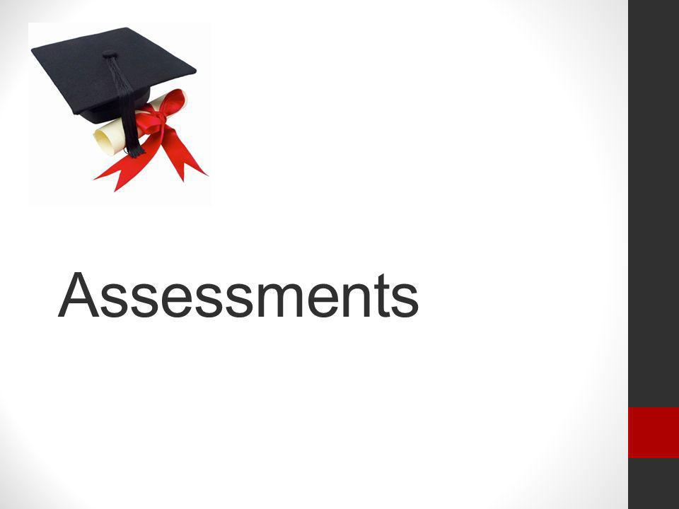 Assessments Now we will focus on the Assessments for these standards.