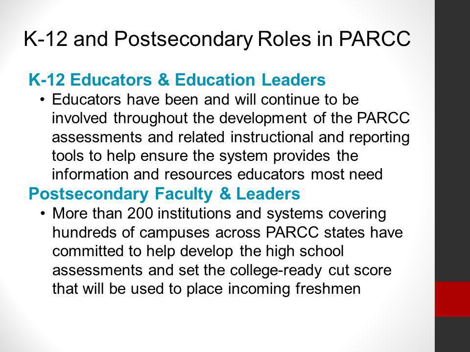 K-12 and Postsecondary Roles in PARCC
