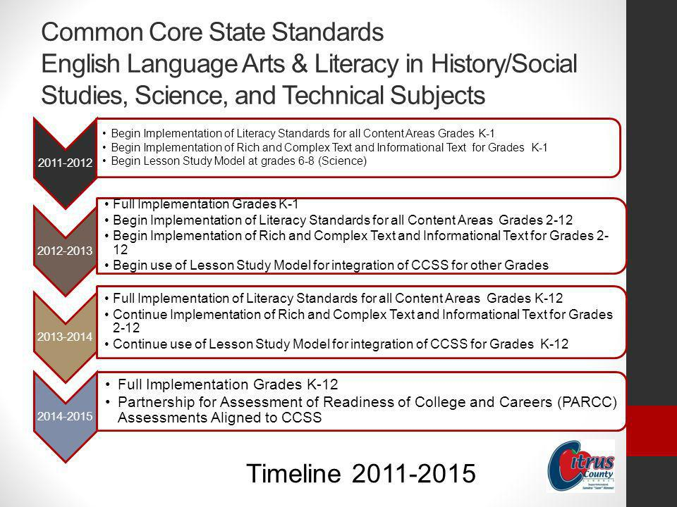 Common Core State Standards English Language Arts & Literacy in History/Social Studies, Science, and Technical Subjects