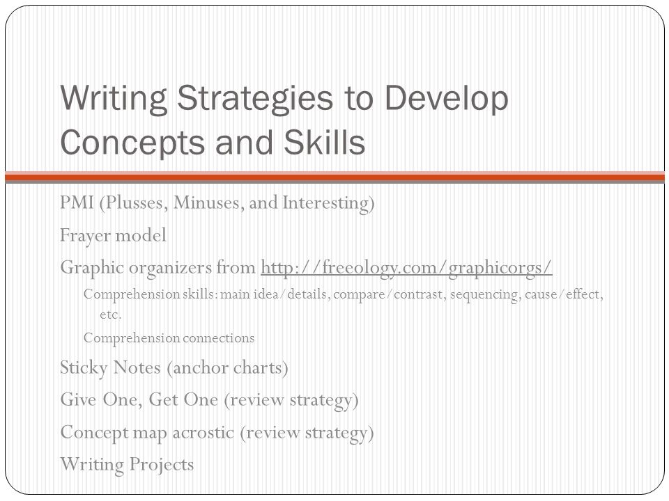Writing Strategies to Develop Concepts and Skills