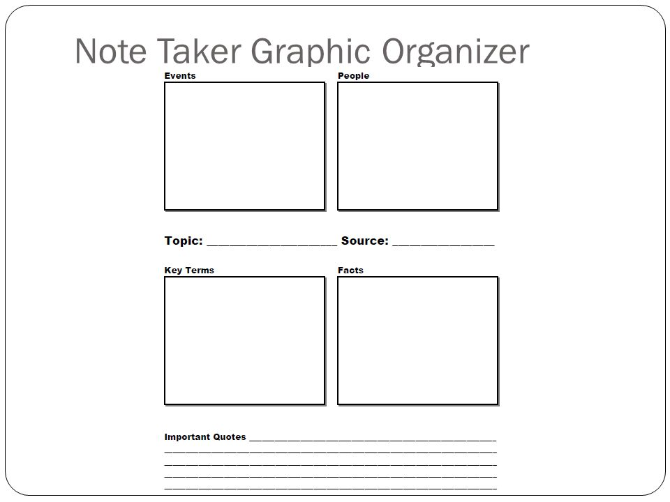 Note Taker Graphic Organizer