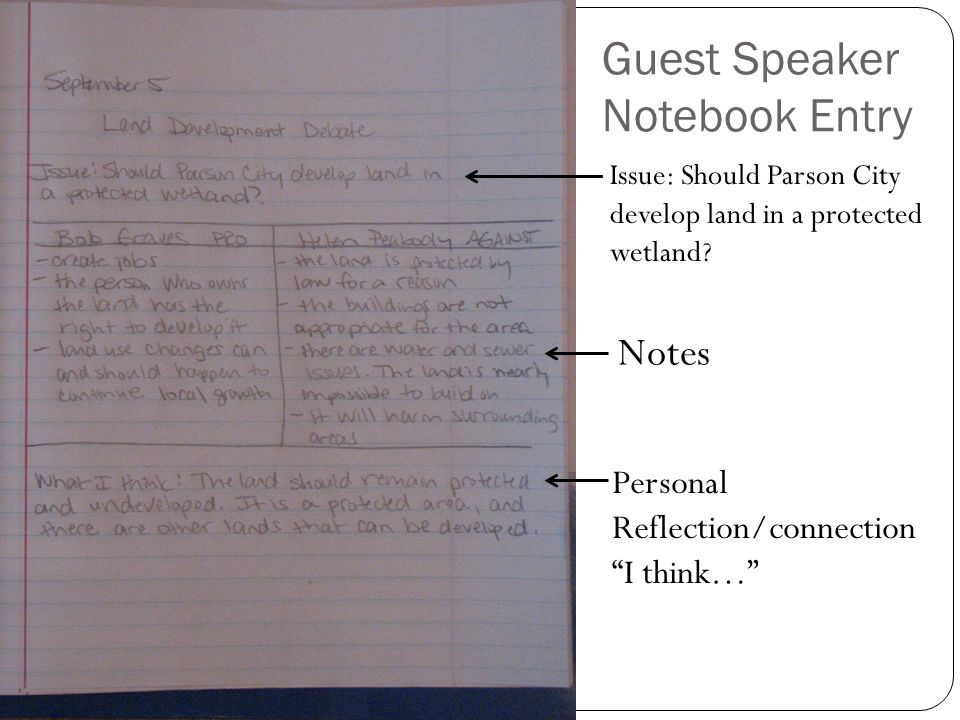 Guest Speaker Notebook Entry