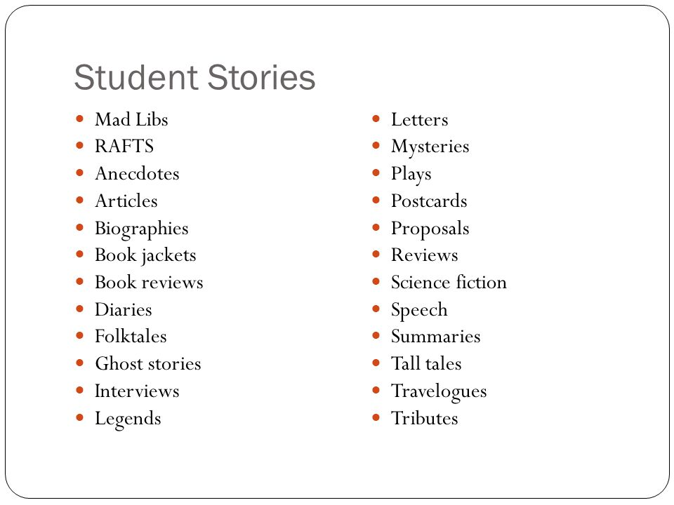 Student Stories Mad Libs RAFTS Anecdotes Articles Biographies