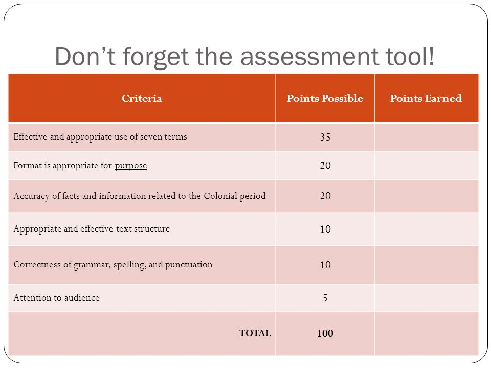 Don't forget the assessment tool!
