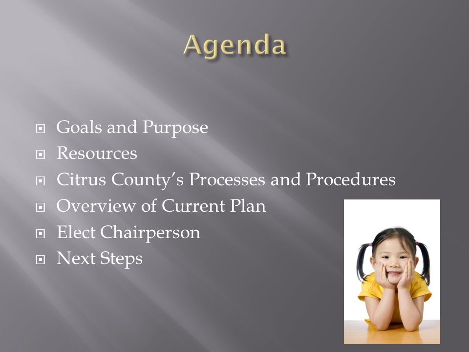 Agenda Goals and Purpose Resources