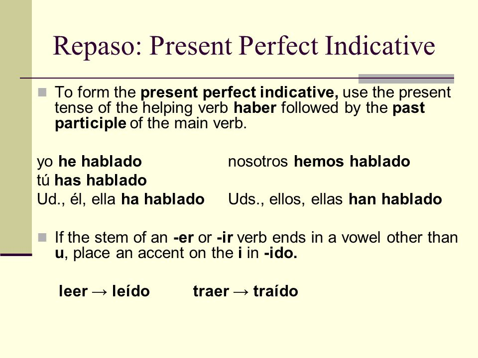 Repaso: Present Perfect Indicative