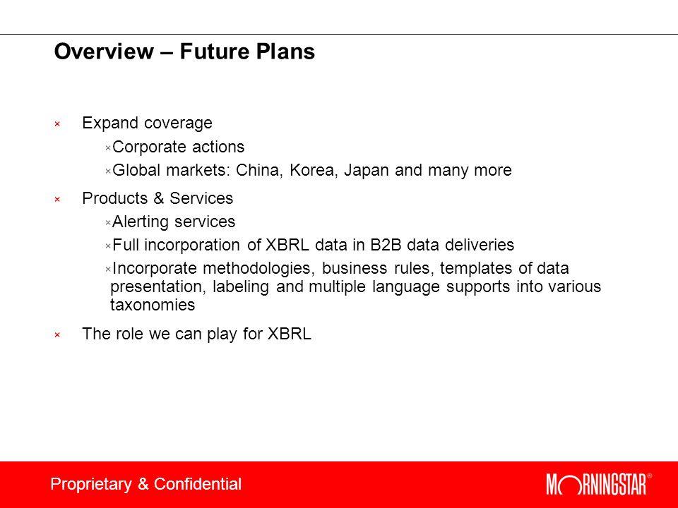Overview – Future Plans