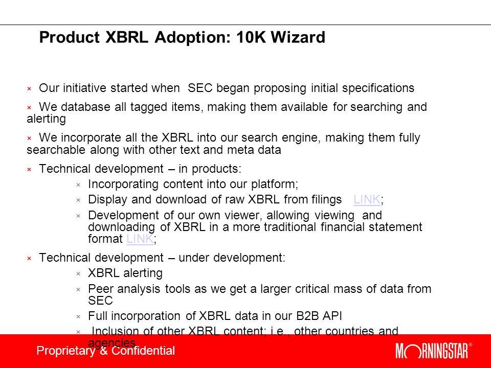 Product XBRL Adoption: 10K Wizard