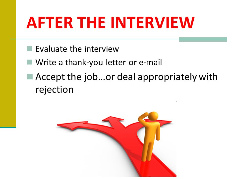 AFTER THE INTERVIEW Evaluate the interview. Write a thank-you letter or  .