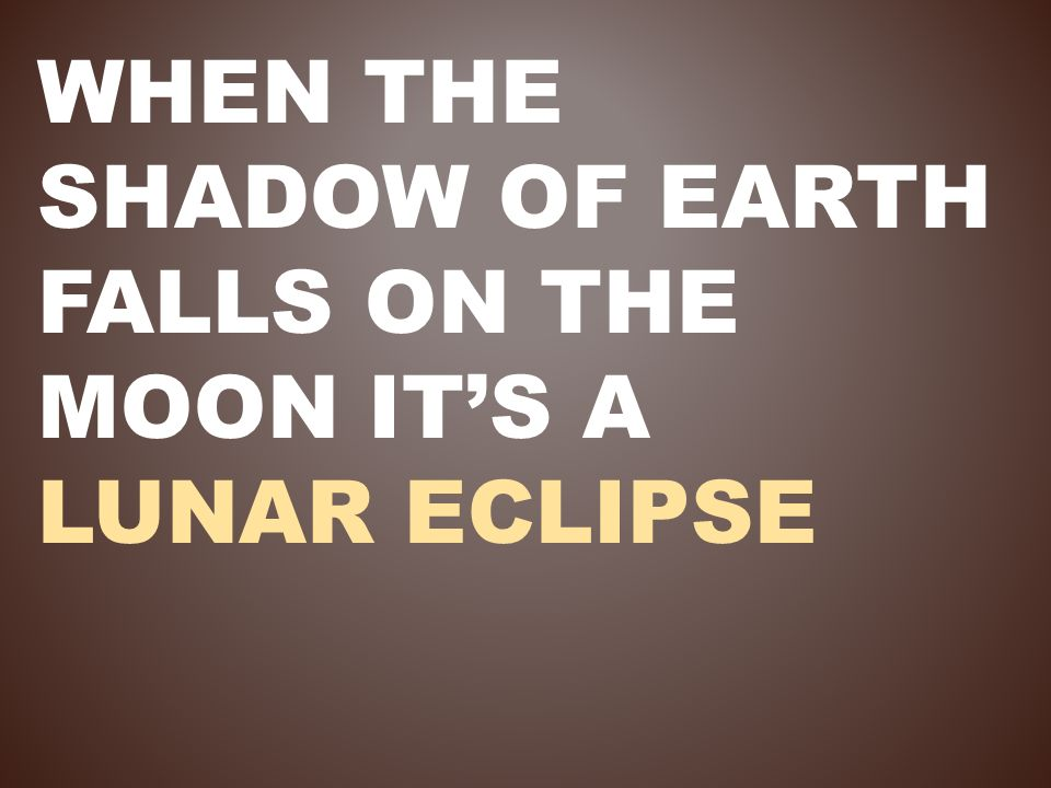 When the shadow of Earth falls on the moon it's a lunar eclipse