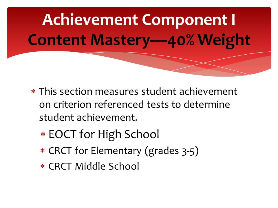 Achievement Component I Content Mastery—40% Weight