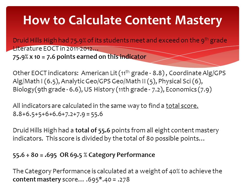 How to Calculate Content Mastery