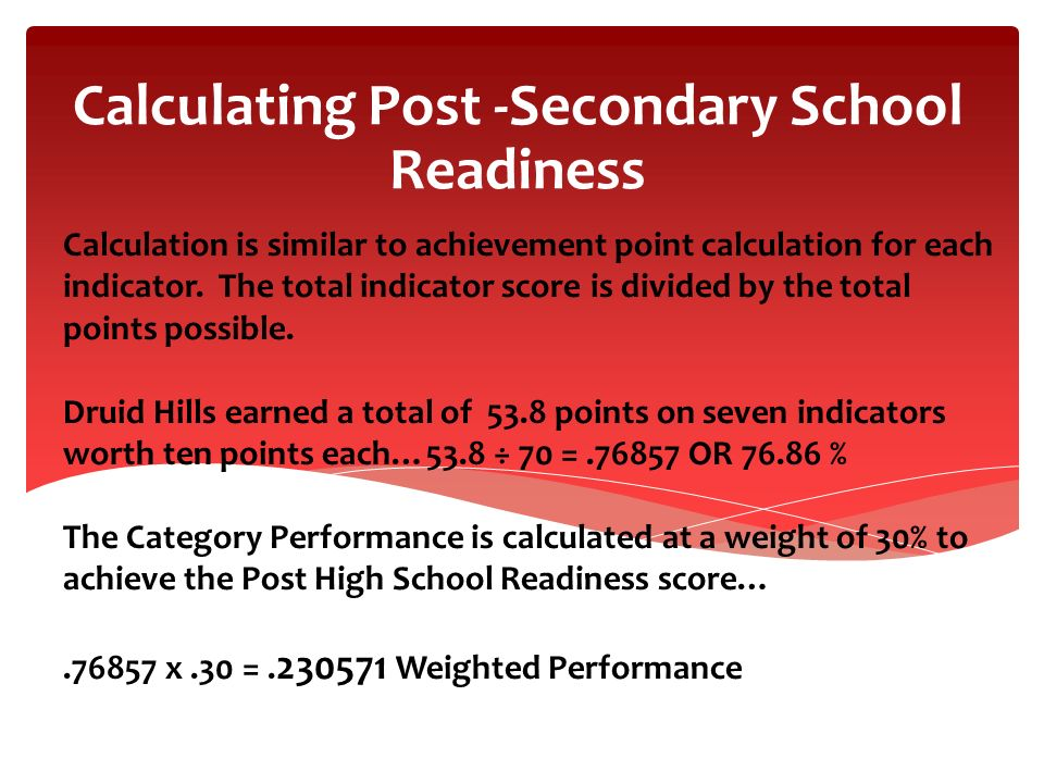 Calculating Post -Secondary School Readiness