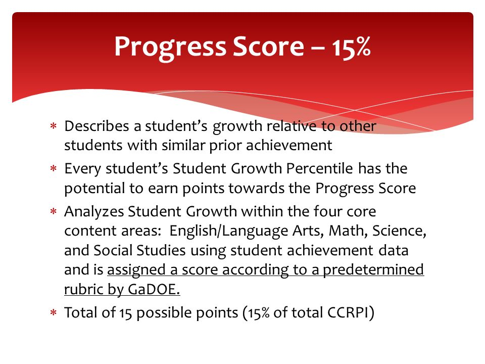 Progress Score – 15% Describes a student's growth relative to other students with similar prior achievement.