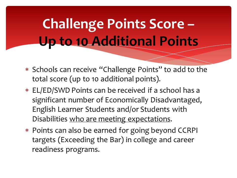 Challenge Points Score – Up to 10 Additional Points