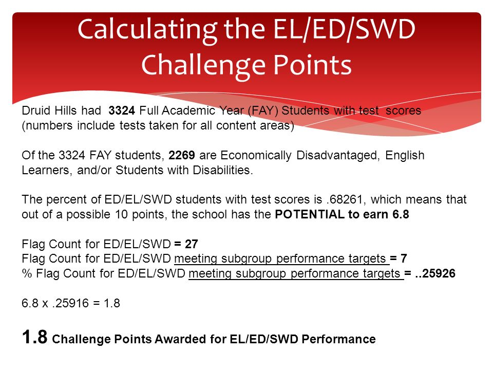 Calculating the EL/ED/SWD Challenge Points