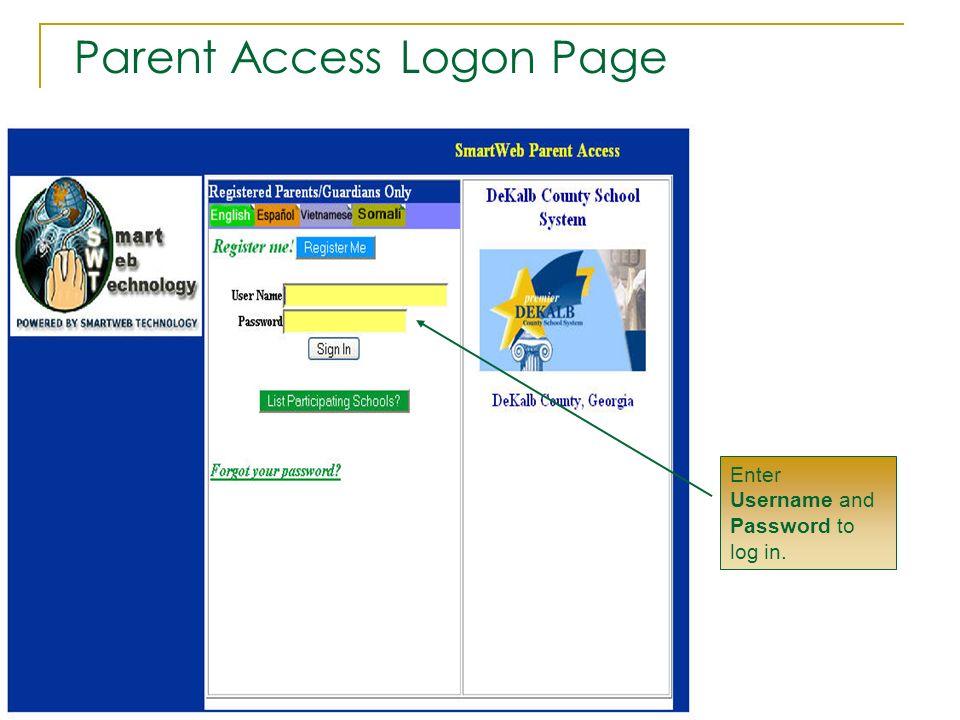 Parent Access Logon Page