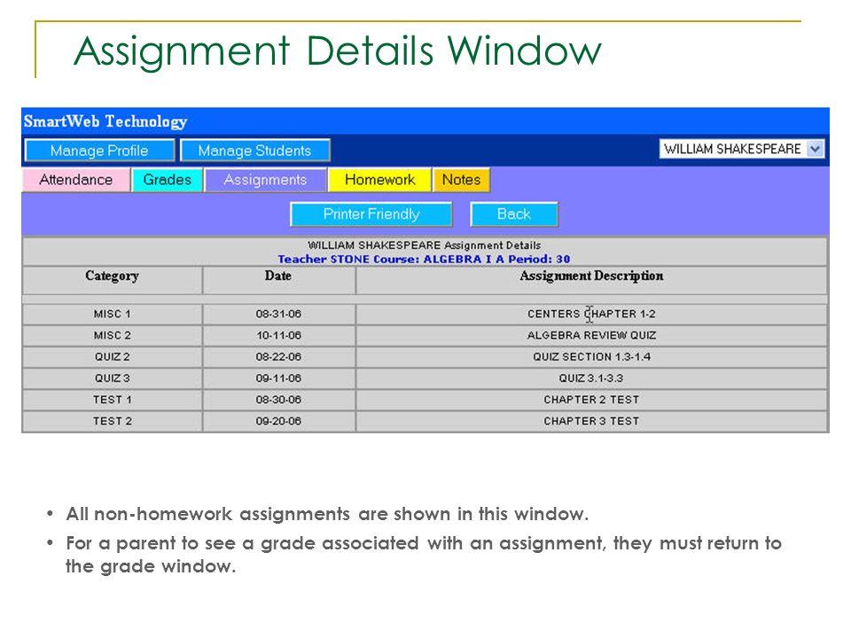 Assignment Details Window