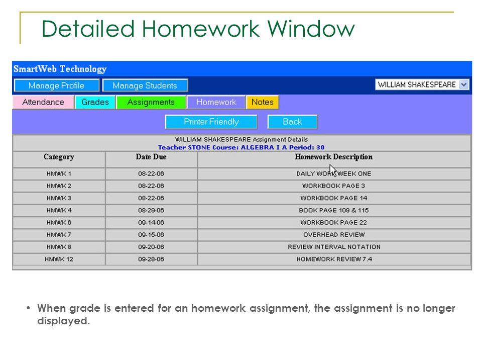 Detailed Homework Window
