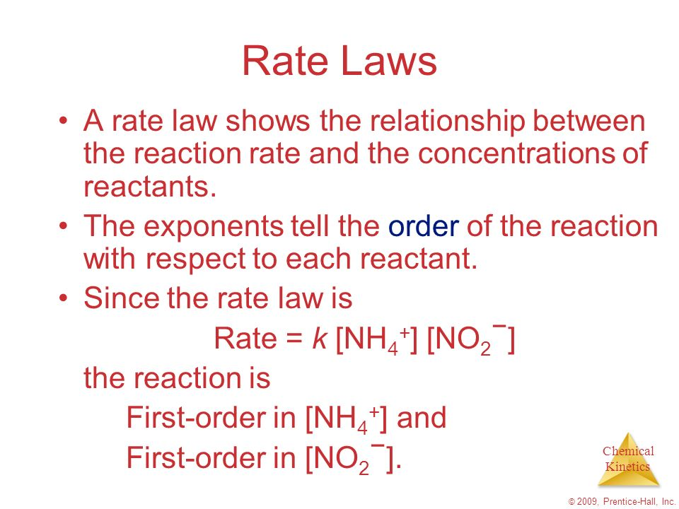 Rate Laws A rate law shows the relationship between the reaction rate and the concentrations of reactants.