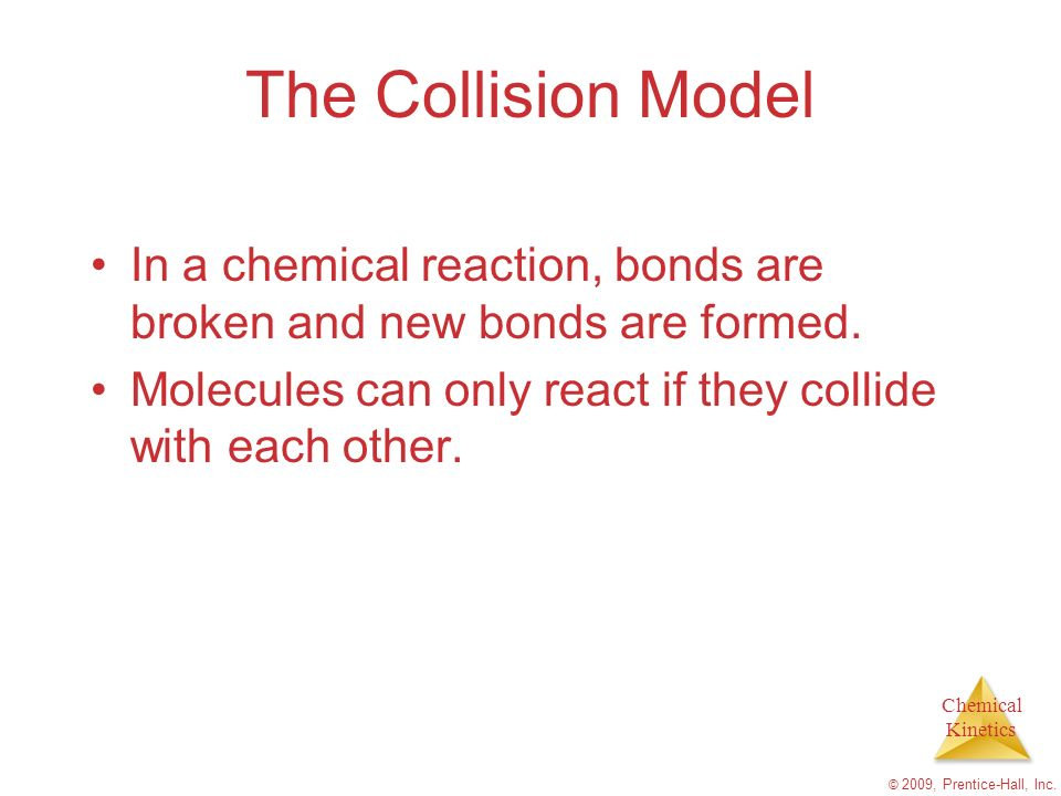 The Collision Model In a chemical reaction, bonds are broken and new bonds are formed. Molecules can only react if they collide with each other.