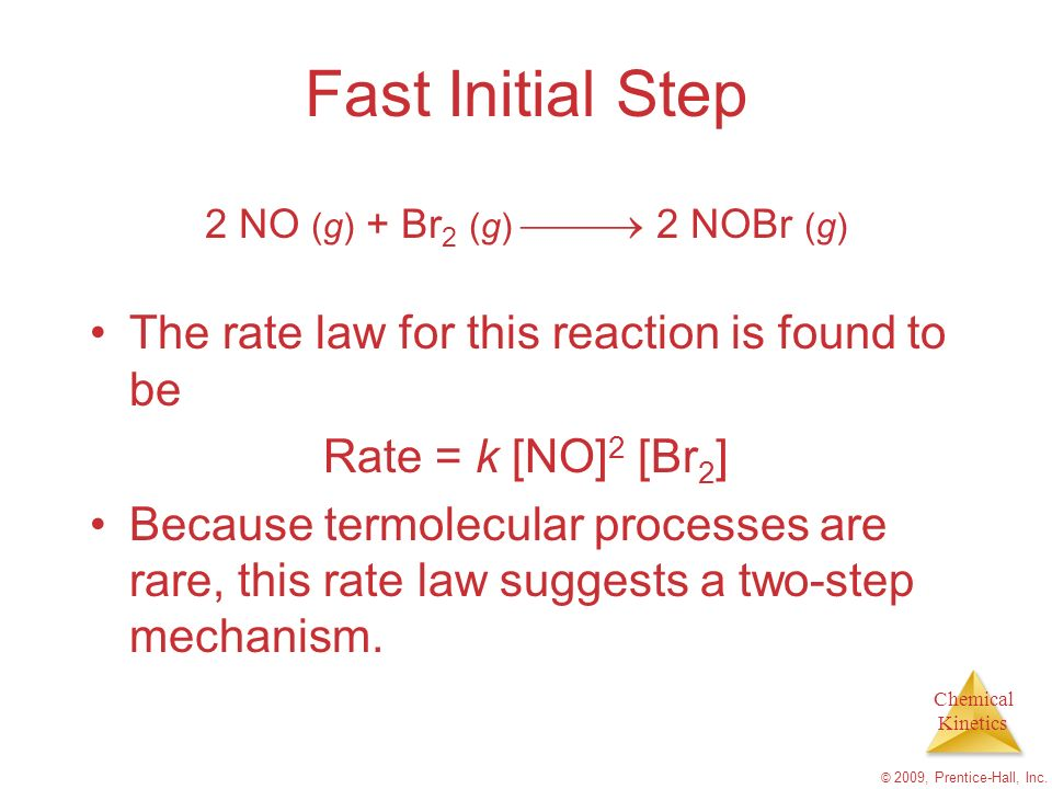 Fast Initial Step The rate law for this reaction is found to be