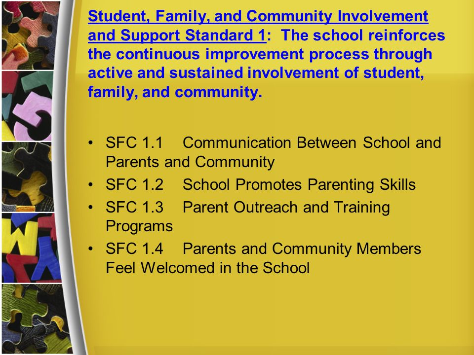 Student, Family, and Community Involvement and Support Standard 1: The school reinforces the continuous improvement process through active and sustained involvement of student, family, and community.