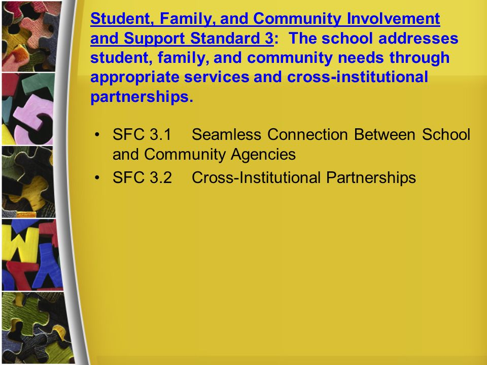 Student, Family, and Community Involvement and Support Standard 3: The school addresses student, family, and community needs through appropriate services and cross-institutional partnerships.