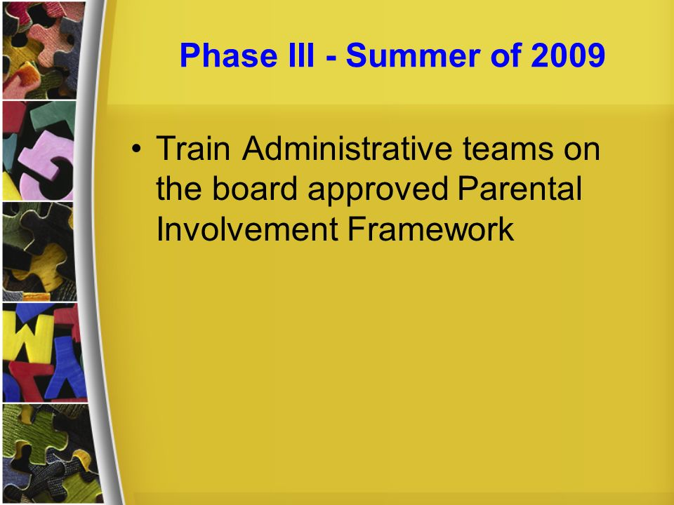 Phase III - Summer of 2009Train Administrative teams on the board approved Parental Involvement Framework.