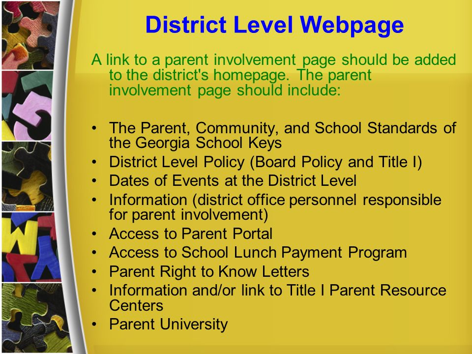 District Level Webpage