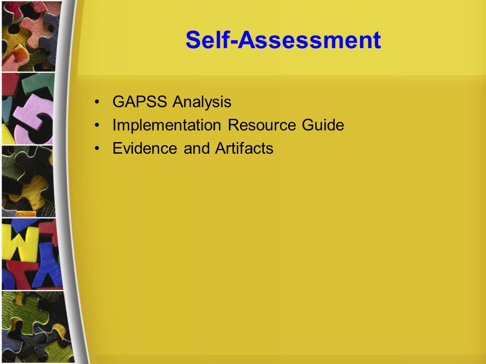 Self-Assessment GAPSS Analysis Implementation Resource Guide