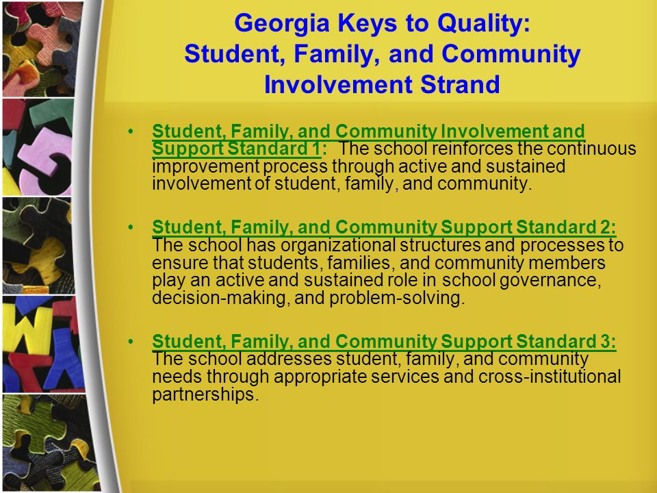 Georgia Keys to Quality: Student, Family, and Community Involvement Strand