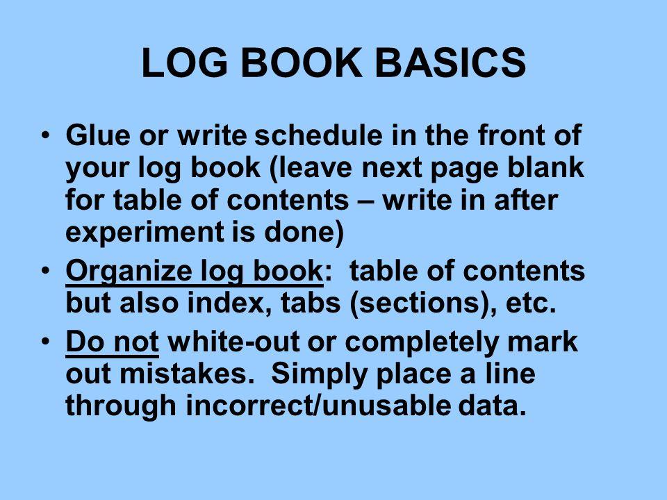 LOG BOOK BASICS