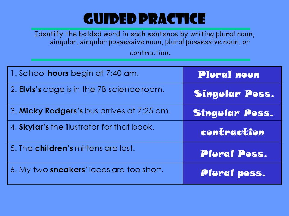 Guided Practice Plural noun Singular Poss. Singular Poss. contraction