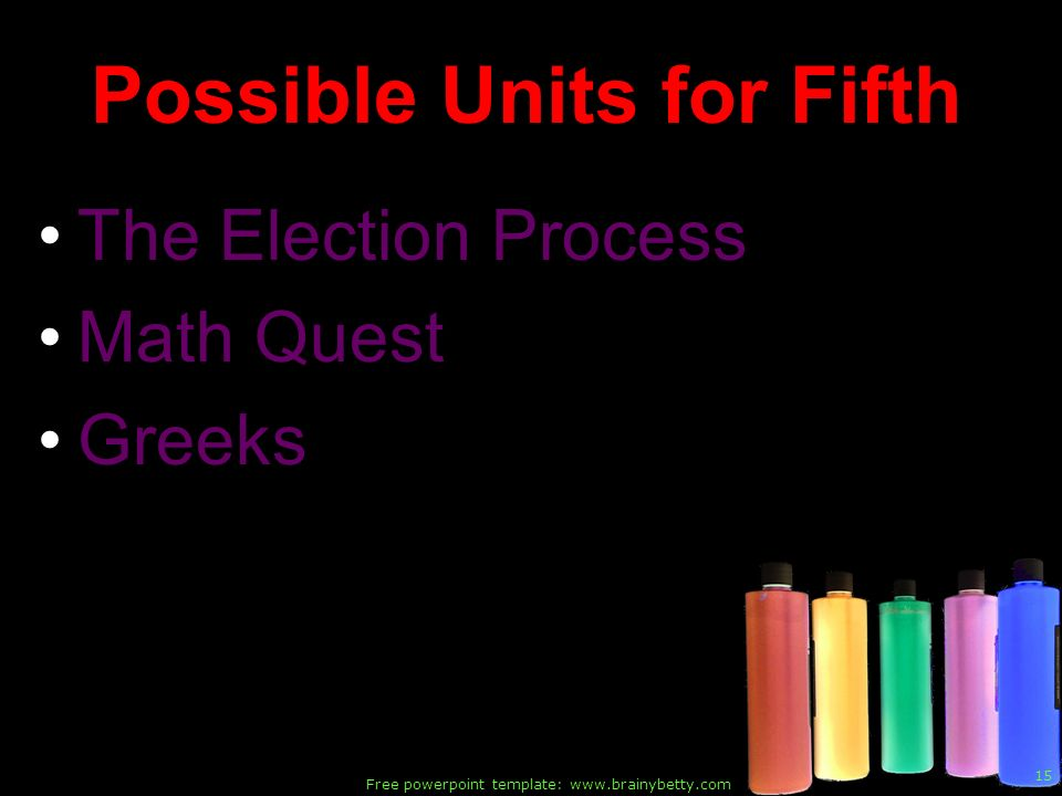 Possible Units for Fifth