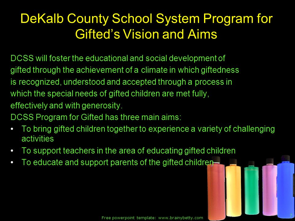 DeKalb County School System Program for Gifted's Vision and Aims